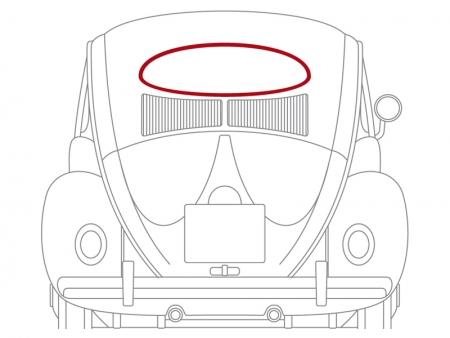 Moulure de lunette arrière 1953-1957 - aluminium - WCM