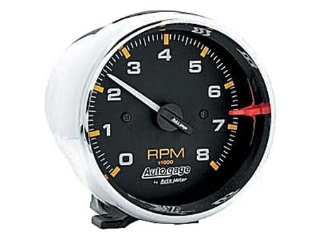 Tachometer Autogage 95 mm - 8000 RPM - Chromed - Black background