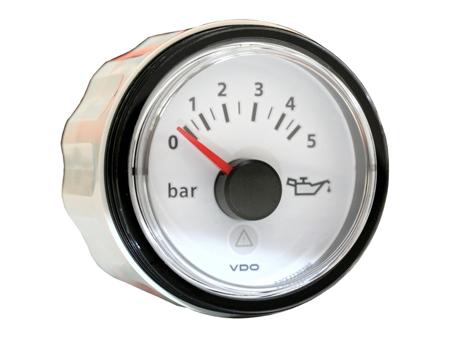 Pression d'huile VDO Viewline - 0-5 bars - dia 52 mm - fond blanc