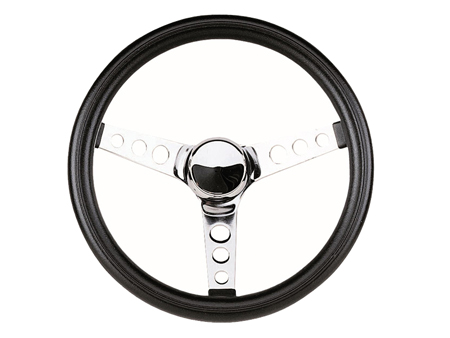 Steering wheel - Grant Classic Series - Pierced - Black and Chrome - 343 mm