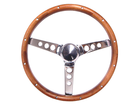 Steering wheel - Grant Classic Series - Pierced - Wood and Chrome - 343 mm