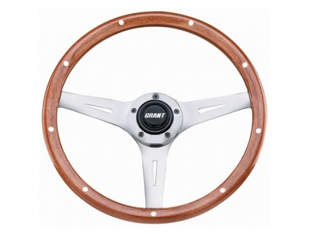 Steering wheel - Grant Collector's Edition - Pierced - Wood and Chrome - 355 mm