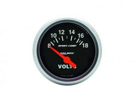 Voltmeter gauge 8-18 volts Sport comp - AUTOMETER - dia 52 mm