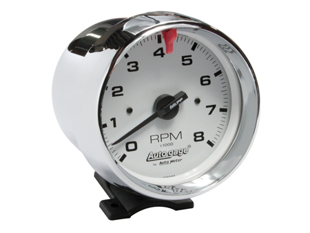 Tachometer Autogage 95 mm - 8000 RPM - Chromed - white background