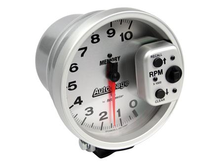 Tachometer Autogage 125 mm - 10000 RPM - Memory silver