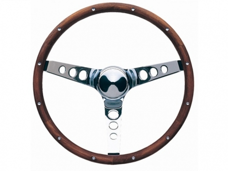 Steering wheel - Grant Classic Series - Pierced - Wood and chrome - 381 mm