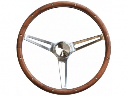 Steering wheel - Grant Classic Nostalgia - Open Slot Style - Wood and Stainless steel - 381 mm