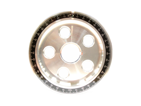 Crankshaft pulley - aluminium - with holes - black - 145 mm - Scat