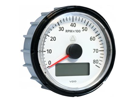 VDO Viewline tachomter - 8000 trs/min - 85 mm diameter - white