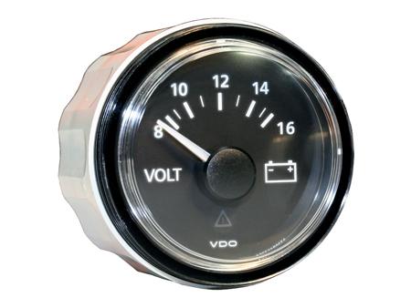 VDO voltmeter VDO viewline - 8 to 16 volts - 52mm dia - black