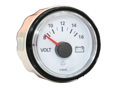 VDO voltmeter VDO viewline - 8 to 16 volts - 52mm dia - white